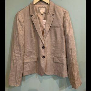 J Crew Schoolboy Linen Jacket Blazer Taupe 14 NWT